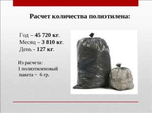 Расчет количества полиэтилена: Год – 45 720 кг. Месяц – 3 810 кг. День - 127