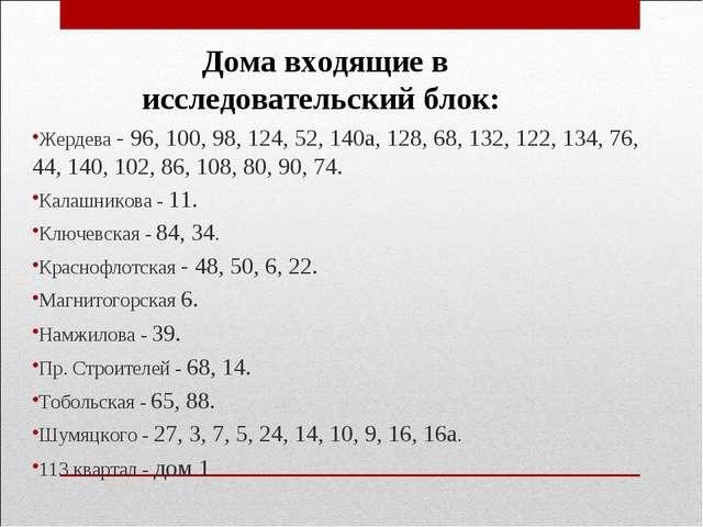 Жердева - 96, 100, 98, 124, 52, 140а, 128, 68, 132, 122, 134, 76, 44, 140, 1...