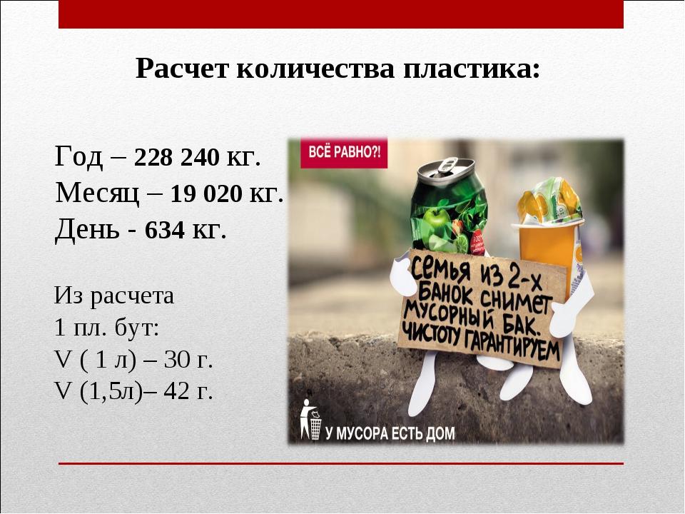 Год – 228 240 кг. Месяц – 19 020 кг. День - 634 кг. Из расчета 1 пл. бут: V...