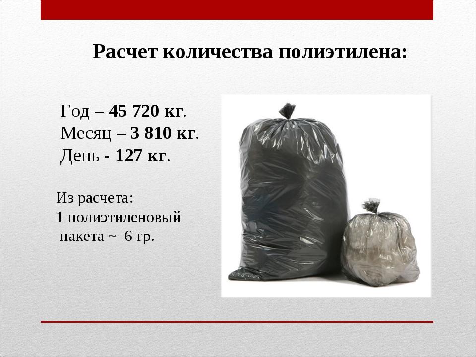 Расчет количества полиэтилена: Год – 45 720 кг. Месяц – 3 810 кг. День - 127...