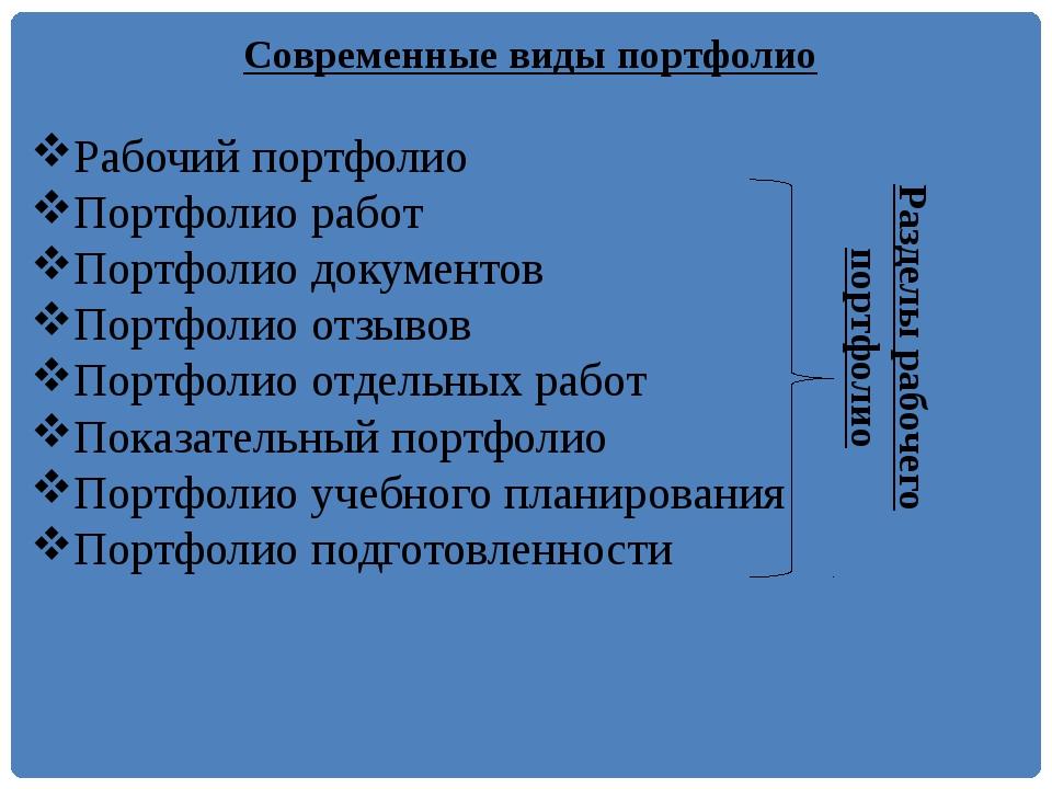 Современные виды портфолио Рабочий портфолио Портфолио работ Портфолио докуме...