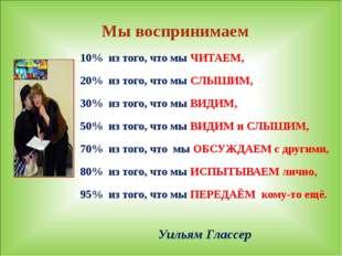 Уильям Глассер 10% из того, что мы ЧИТАЕМ, 20% из того, что мы СЛЫШИМ, 30% и