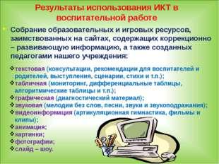 Результаты использования ИКТ в воспитательной работе Собрание образовательных