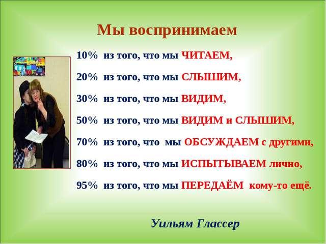 Уильям Глассер 10% из того, что мы ЧИТАЕМ, 20% из того, что мы СЛЫШИМ, 30% и...