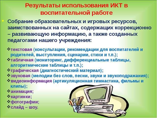 Результаты использования ИКТ в воспитательной работе Собрание образовательных...
