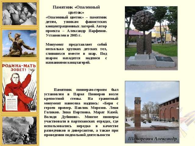 Памятник «Опаленный цветок» «Опаленный цветок» – памятник детям, узникам фаши...