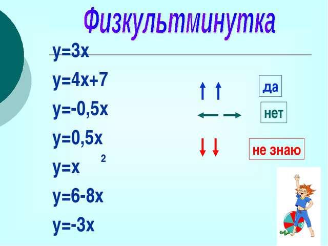 y=3х y=4x+7 y=-0,5x y=0,5x y=x y=6-8x y=-3x да нет не знаю 2