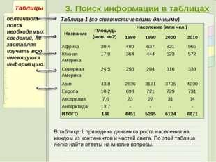 3. Поиск информации в таблицах Таблица 1 (со статистическими данными) облегч