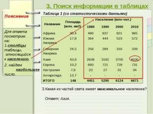 3. Поиск информации в таблицах Таблица 1 (со статистическими данными) 3.Кака
