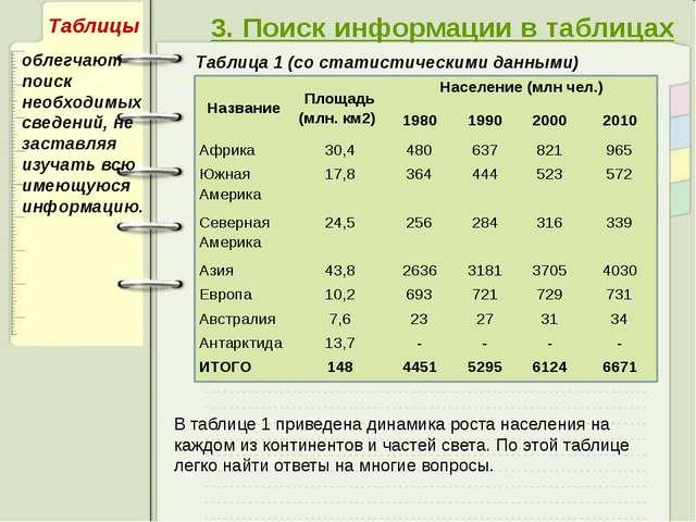 3. Поиск информации в таблицах Таблица 1 (со статистическими данными) облегч...