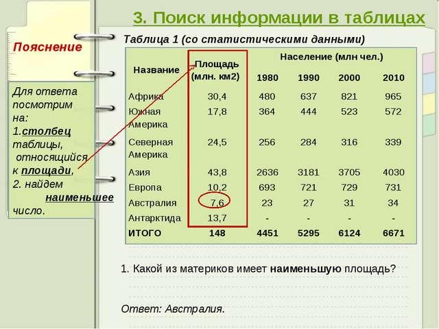 3. Поиск информации в таблицах Таблица 1 (со статистическими данными) 1. Как...