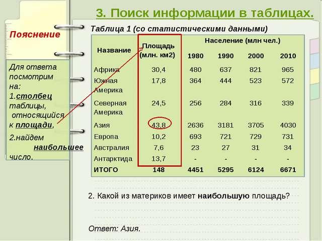 3. Поиск информации в таблицах. Таблица 1 (со статистическими данными) 2. Ка...