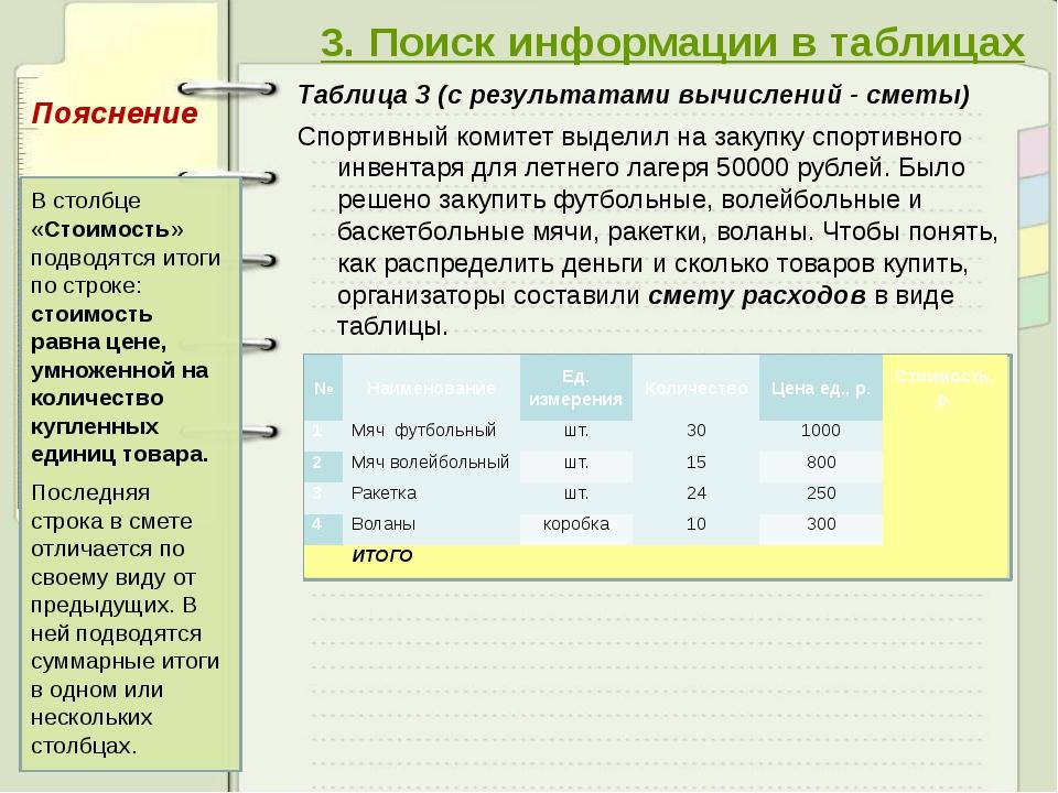 3. Поиск информации в таблицах Таблица 3 (с результатами вычислений - сметы)...