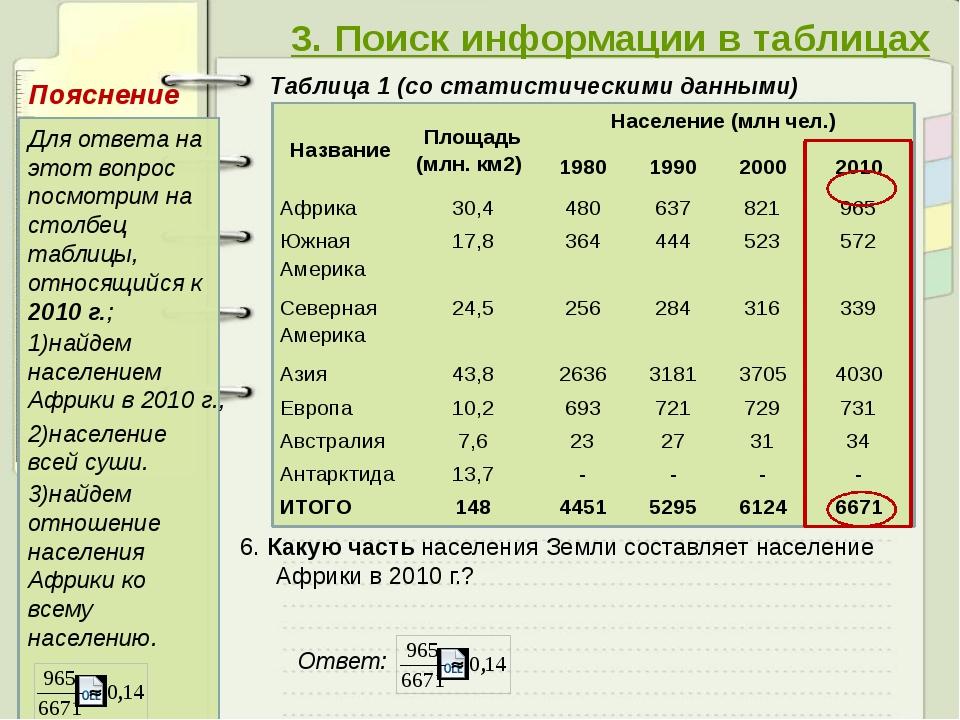 3. Поиск информации в таблицах Таблица 1 (со статистическими данными) 6. Как...