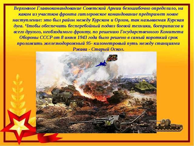 Верховное Главнокомандование Советской Армии безошибочно определило, на каком...