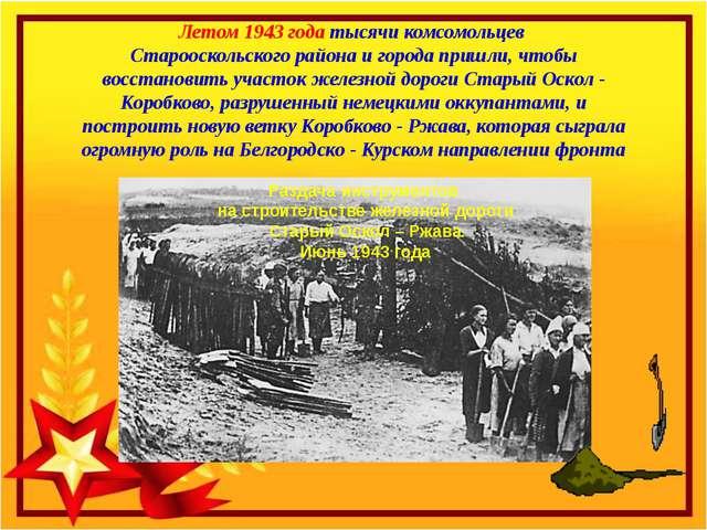 Летом 1943 года тысячи комсомольцев Старооскольского района и города пришли,...