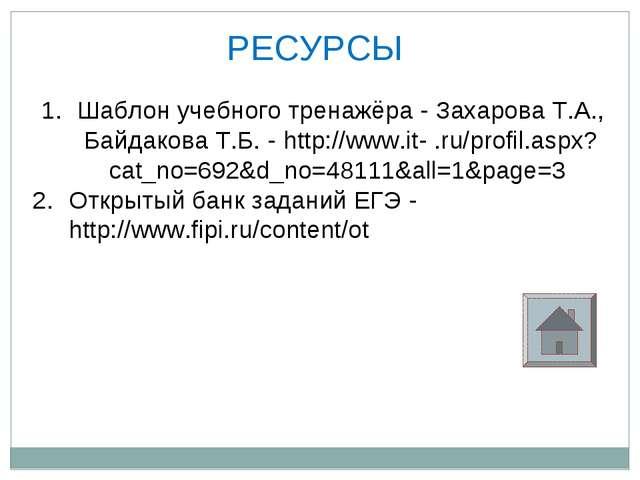 РЕСУРСЫ Шаблон учебного тренажёра - Захарова Т.А., Байдакова Т.Б. - http://ww...