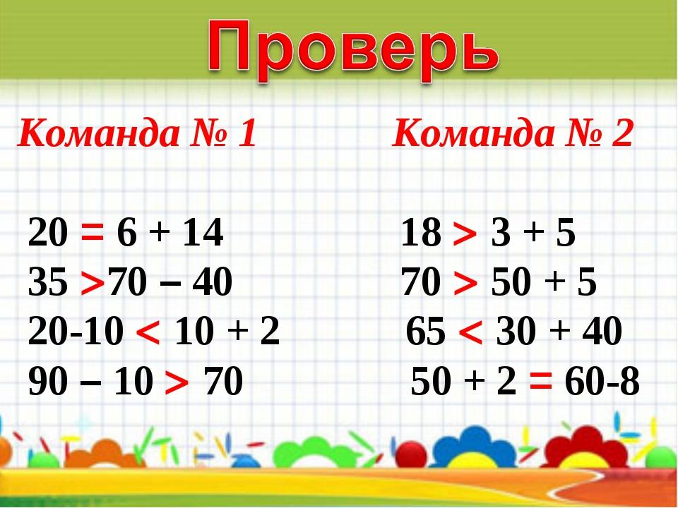 Команда № 1 Команда № 2 20 = 6 + 14 18  3 + 5 35 70 – 40 70  50 + 5 20-1...