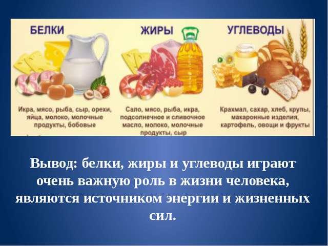 Вывод: белки, жиры и углеводы играют очень важную роль в жизни человека, явля...