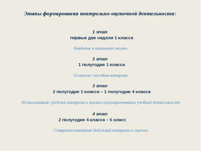 Этапы формирования контрольно-оценочной деятельности: 1 этап первые две недел...