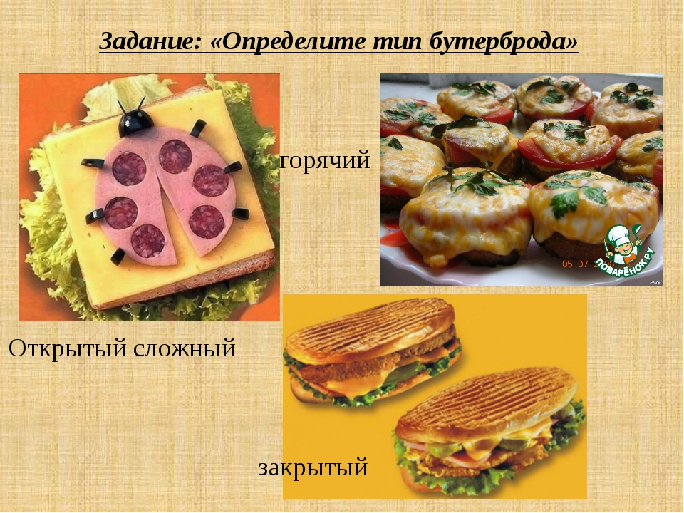 Задание: «Определите тип бутерброда» Открытый сложный горячий закрытый