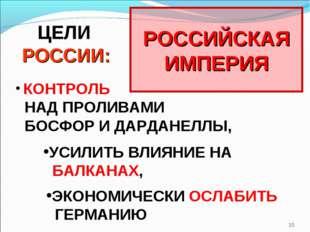 * РОССИЙСКАЯ ИМПЕРИЯ ЦЕЛИ РОССИИ: КОНТРОЛЬ НАД ПРОЛИВАМИ БОСФОР И ДАРДАНЕЛЛЫ,