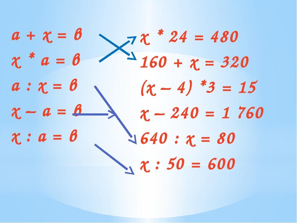 а + х = в х * а = в а : х = в х – а = в х : а = в х * 24 = 480 160 + х = 320...