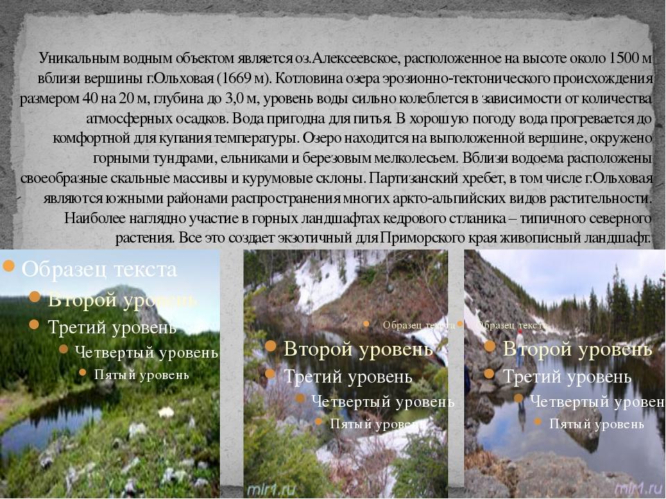 Уникальным водным объектом является оз.Алексеевское, расположенное на высоте...