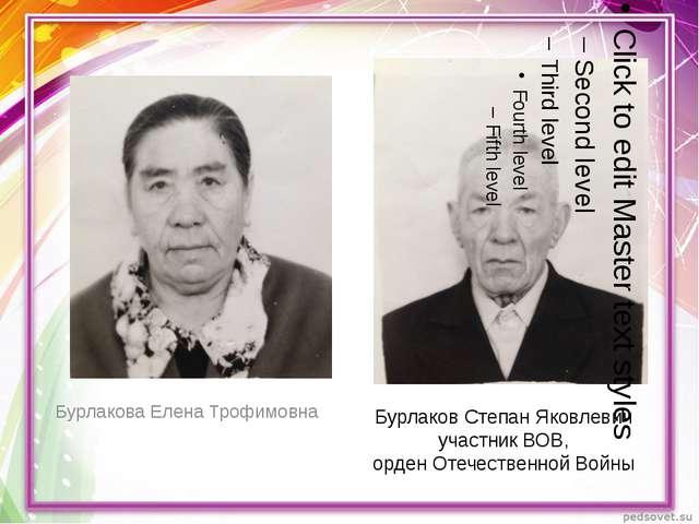 Бурлаков Степан Яковлевич участник ВОВ, орден Отечественной Войны Бурлакова Е...