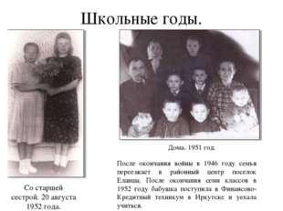 Школьные годы. После окончания войны в 1946 году семья переезжает в районный