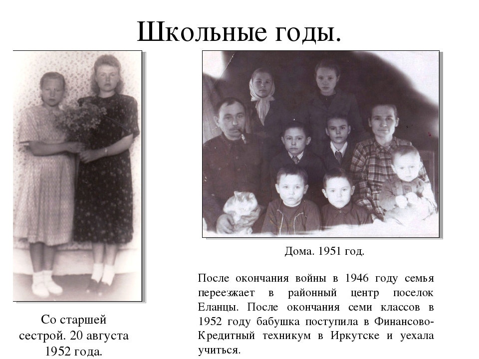 Школьные годы. После окончания войны в 1946 году семья переезжает в районный...