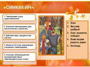 «СИНКВЕЙН» Илья Могучий, храбрый Ехал, сражался, победил Всем людям радость д