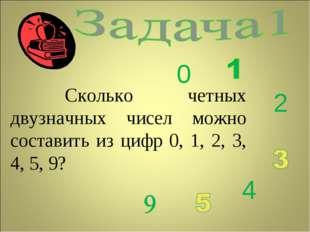 Сколько четных двузначных чисел можно составить из цифр 0, 1, 2, 3, 4, 5, 9?