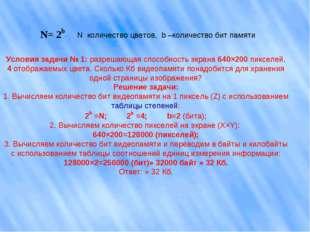 N количество цветов, b –количество бит памяти Условия задачи № 1: разрешающа