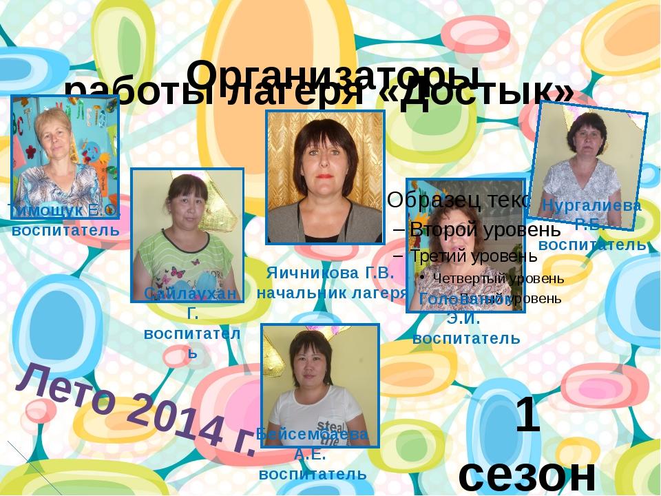 Организаторы работы лагеря «Достык» 1 сезон Лето 2014 г. Яичникова Г.В. нача...