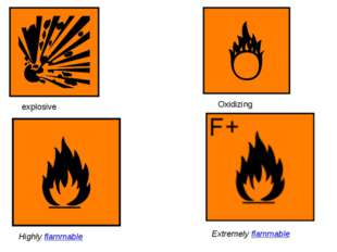 explosive Oxidizing Highly flammable Extremely flammable