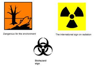 Dangerous for the environment The international sign on radiation Biohazard s