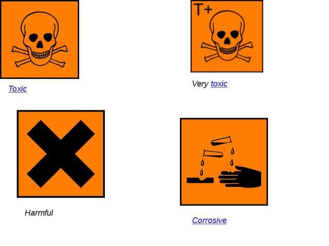 Toxic Very toxic Harmful Corrosive
