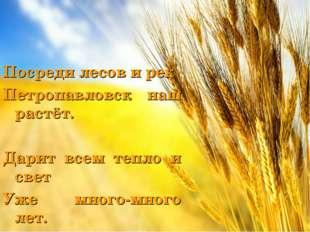 Посреди лесов и рек Петропавловск наш растёт. Дарит всем тепло и свет Уже мно