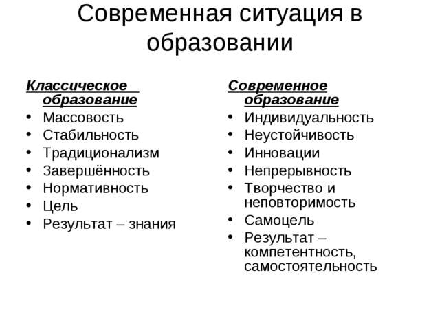 Современная ситуация в образовании Классическое образование Массовость Стабил...