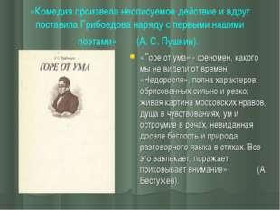 «Комедия произвела неописуемое действие и вдруг поставила Грибоедова наряду с