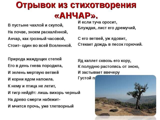 Отрывок из стихотворения «АНЧАР». В пустыне чахлой и скупой, На почве, зноем...