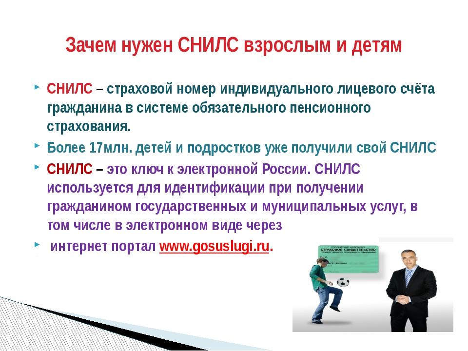 СНИЛС– страховой номер индивидуального лицевого счёта гражданина в системе о...