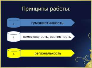 Принципы работы: 1. гуманистичность 2. комплексность, системность 3. регионал