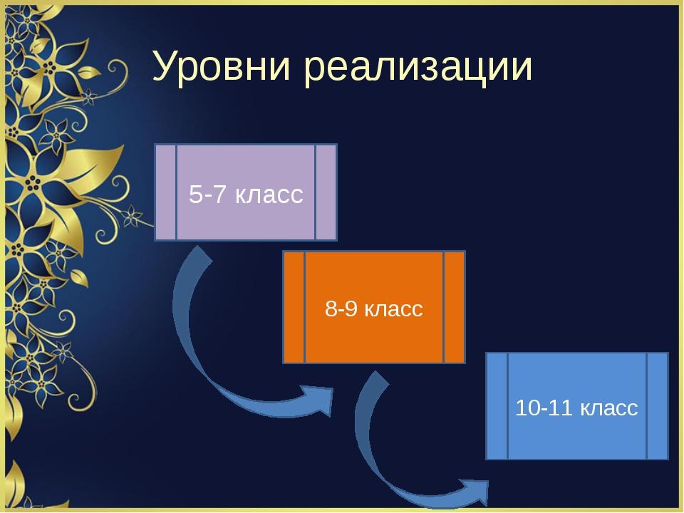 Уровни реализации 5-7 класс 8-9 класс 10-11 класс