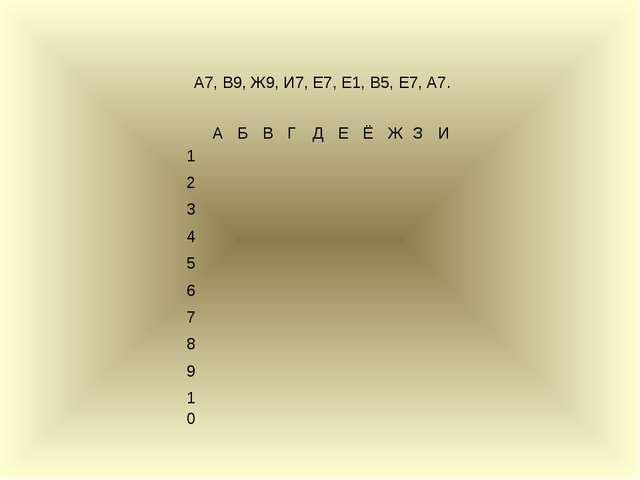 А7, В9, Ж9, И7, Е7, Е1, В5, Е7, А7. АБВГДЕЁЖЗИ 1 ...