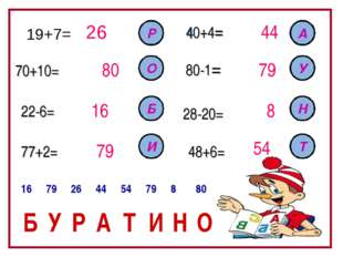 19+7= 26 70+10= 80 22-6= 77+2= 48+6= 28-20= 80-1= 40+4= 16 79 44 79 8 54 Р О