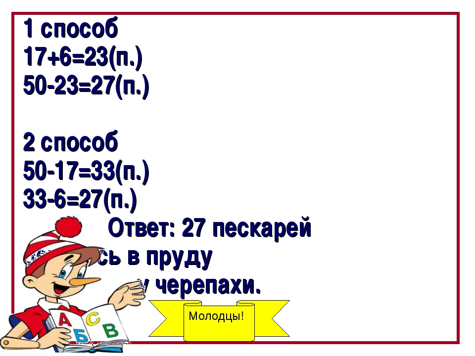 1 способ 17+6=23(п.) 50-23=27(п.) 2 способ 50-17=33(п.) 33-6=27(п.) Ответ: 27...