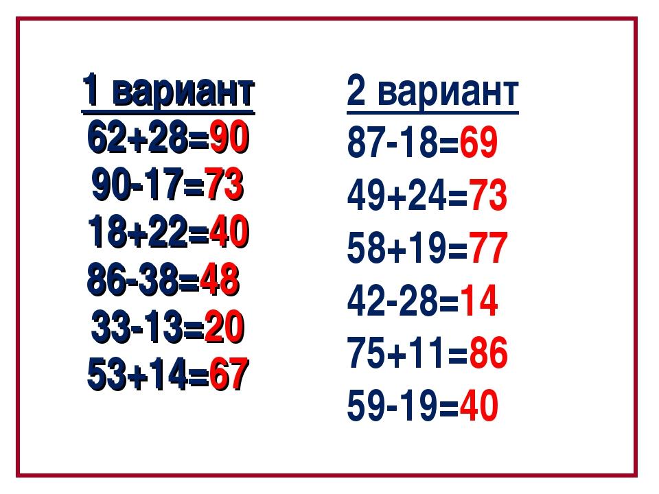1 вариант 62+28=90 90-17=73 18+22=40 86-38=48 33-13=20 53+14=67 2 вариант 87-...
