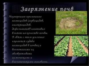 Загрязнение почв Неумеренное применение пестицидов (гербицидов, инсектицидов,